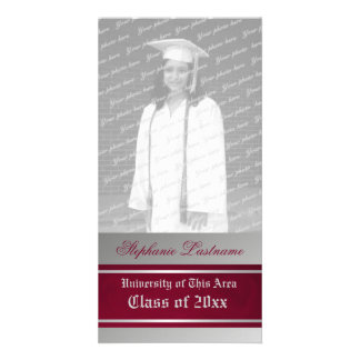 Varsity Stripe Graduation Red and Silver Card