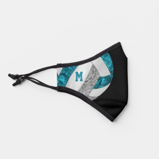 varsity stripes teal gray girly volleyball premium face mask