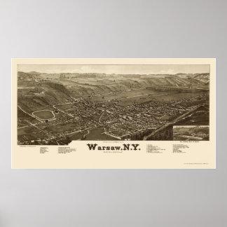 Varsovia, mapa panorámico de NY - 1885 Posters