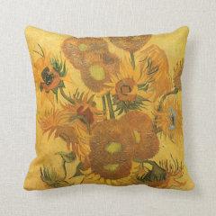 Vase 15 Sunflowers, van Gogh Vintage Impressionism Throw Pillows