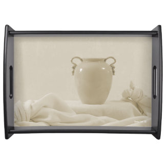 Vase And Damask Serving Tray