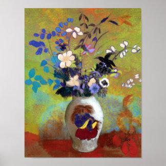 Vase au Guerrier Japonais Flower Fine Art Print