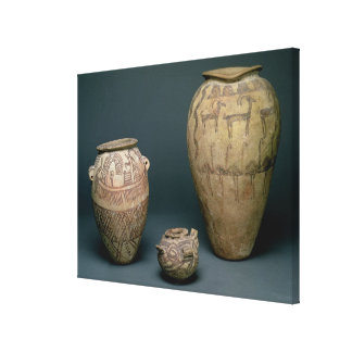 Vase decorated with various friezes of animals and canvas print