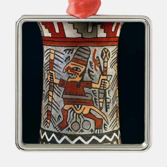 Vase depicting a farming scene metal ornament