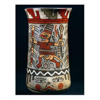 Vase depicting a farming scene postcard