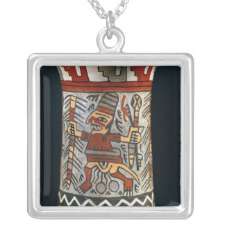 Vase depicting a farming scene silver plated necklace
