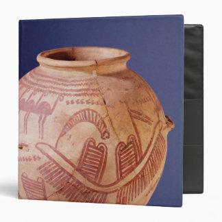 Vase depicting two shrines on a barge 3 ring binder