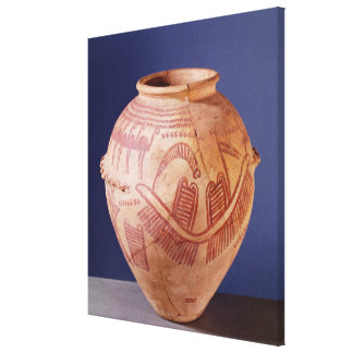 Vase depicting two shrines on a barge canvas print
