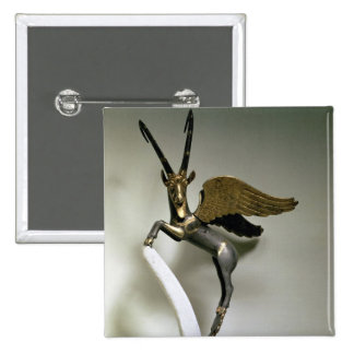 Vase handle in the form of a winged ibex, Achaemen Pinback Button