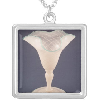 Vase, late 19th century silver plated necklace