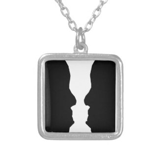 Vase Man Optical Illusion Silver Plated Necklace