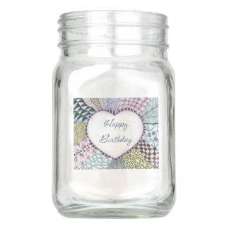 Vase Mason Jar Happy Birthday
