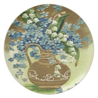 Vase of Blue and White Flowers Melamine Plate