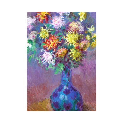 Vase of Chrysanthemum Flowers Wrapped Canvas