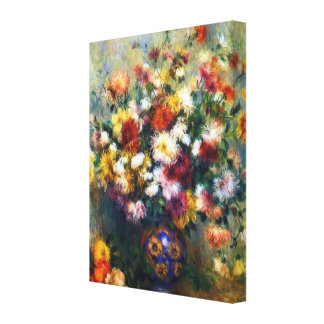 Vase of Chrysanthemums by Renoir Wrapped Canvas Canvas Print