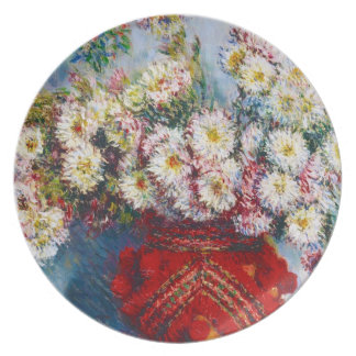 Vase of Chrysanthemums Claude Monet Melamine Plate