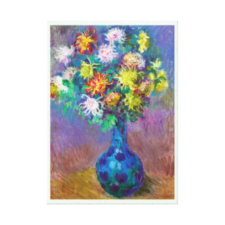 Vase of Chrysanthemums Claude Monet painting Stretched Canvas Print