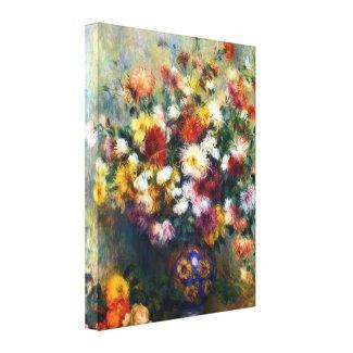 Vase of Chrysanthemums Renoir Fine Art Canvas Print