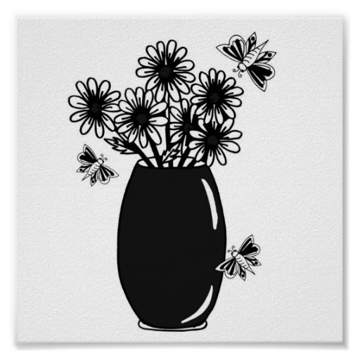 vase of daisies with butterflies posters