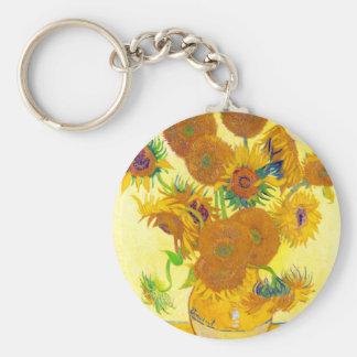 Vase of Fifteen Sunflowers, Van Gogh Key Chain