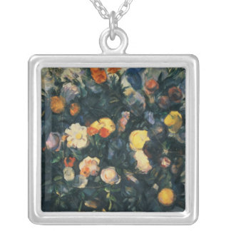Vase of Flowers, 19th Silver Plated Necklace