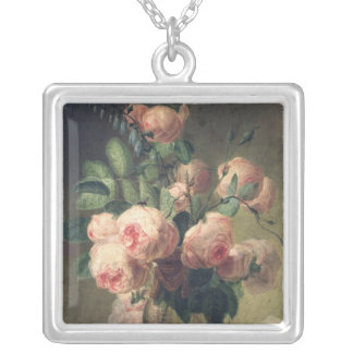 Vase of Flowers 2 Silver Plated Necklace