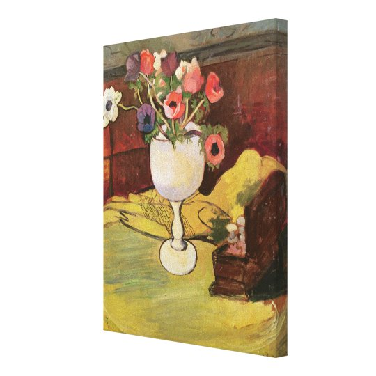 Vase of Flowers, Anemones in a White Glass Canvas Print