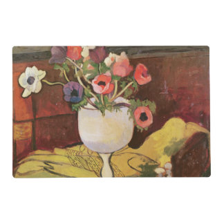 Vase of Flowers, Anemones in a White Glass Laminated Place Mat