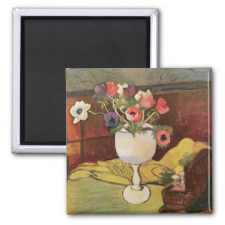 Vase of Flowers, Anemones in a White Glass Magnet