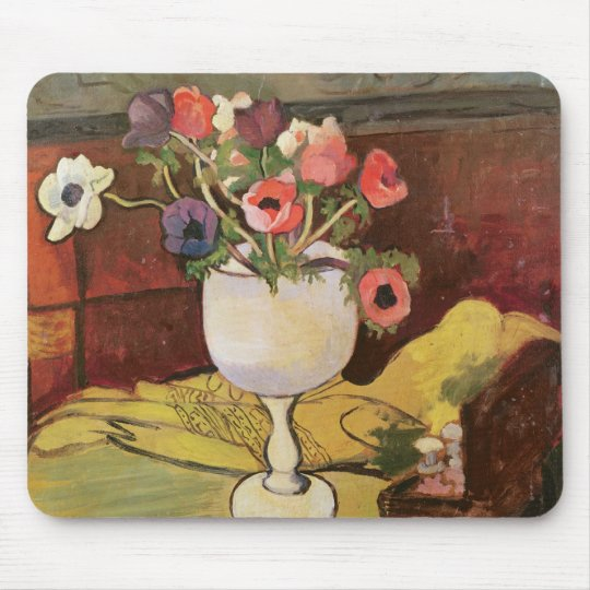 Vase of Flowers, Anemones in a White Glass Mouse Pad