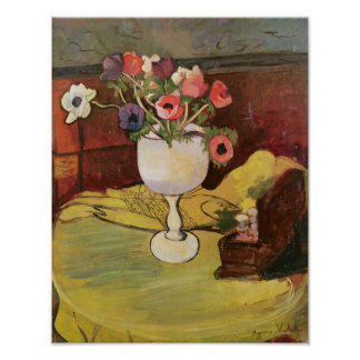 Vase of Flowers, Anemones in a White Glass Poster