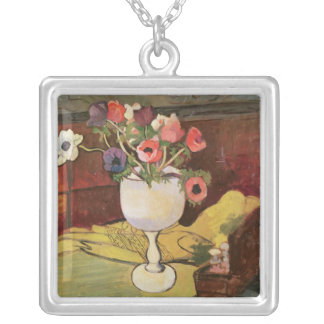 Vase of Flowers, Anemones in a White Glass Silver Plated Necklace