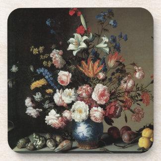 Vase of Flowers by a Window, Balthasar van der Ast Drink Coaster