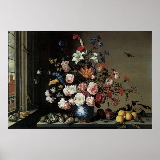 Vase of Flowers by a Window, Balthasar van der Ast Poster