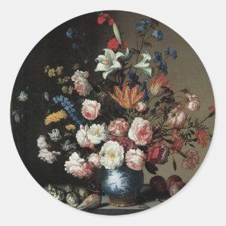 Vase of Flowers by a Window, Balthasar van der Ast Classic Round Sticker