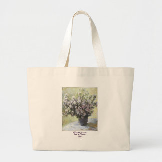 Vase of Flowers by Claude Monet Canvas Bags