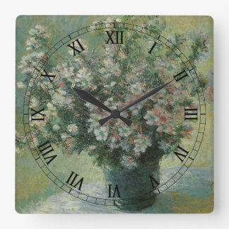Vase of Flowers by Claude Monet, Vintage Fine Art Square Wall Clock