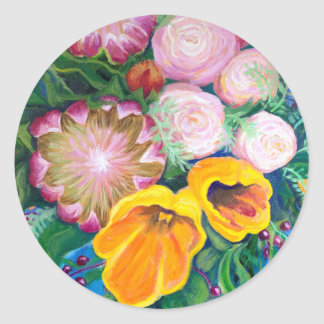Vase of Flowers -- Proteas, Tulips and Roses Classic Round Sticker