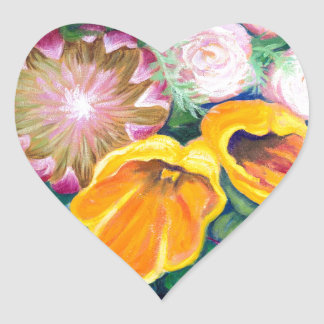 Vase of Flowers -- Proteas, Tulips and Roses Heart Sticker