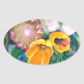 Vase of Flowers -- Proteas, Tulips and Roses Oval Sticker