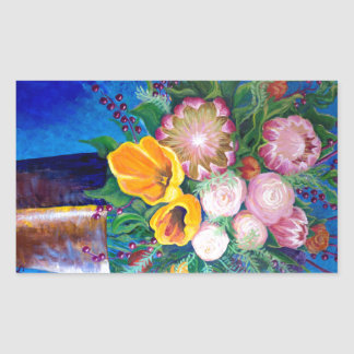 Vase of Flowers -- Proteas, Tulips and Roses Rectangular Sticker