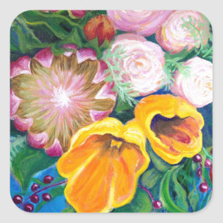Vase of Flowers -- Proteas, Tulips and Roses Square Sticker