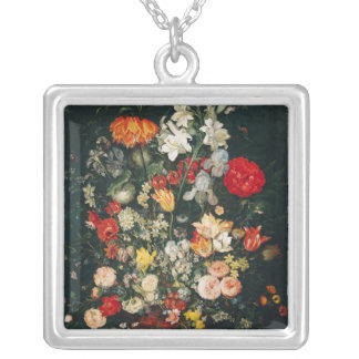 Vase of Flowers Silver Plated Necklace