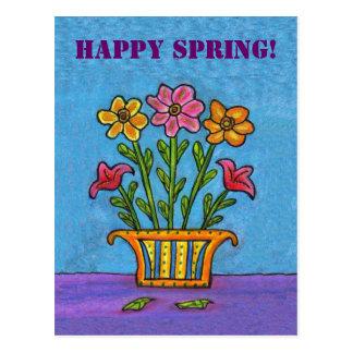 Vase of Happy Spring Flowers Postcard