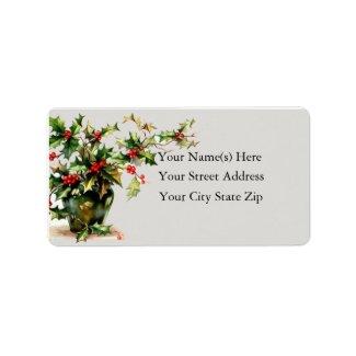 Vase of Holly Vintage Address Label