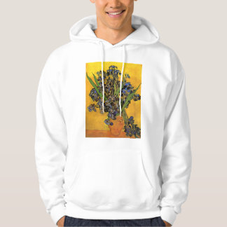 Vase of Irises Against a Yellow Background Hoodie