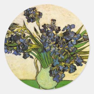 Vase of Irises, Van Gogh Classic Round Sticker