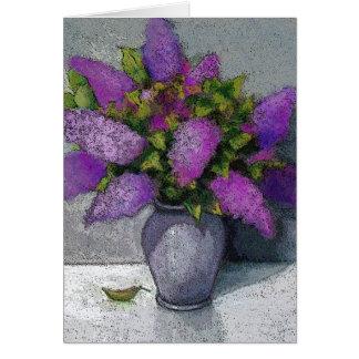 Vase of Lilacs: Original Artwork: Flowers Card