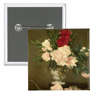 Vase of Peonies on a Small Pedestal, 1864 2 Inch Square Button