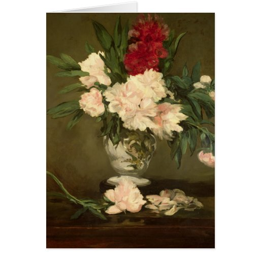 Vase of Peonies on a Small Pedestal, 1864 Card